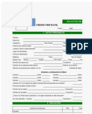 descargar solicitud de empleo pdf